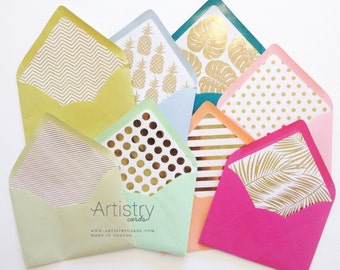 Envelope Liners - Gold Foil Envelope Liners Only - Each Pack comes with 10 liners