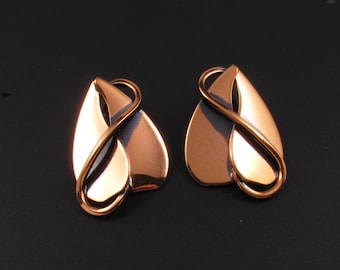 Copper Earrings, Copper Leaf Earrings, Copper Heart Earrings, Copper Vine Earrings, Modernist Earrings, Arts and Crafts Earrings