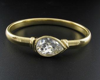 Trifari Rhinestone Bracelet, Trifari Bracelet, Snake Chain Bracelet, Trifari Stretch Bracelet, Large Rhinestone Bracelet, Gold Bracelet
