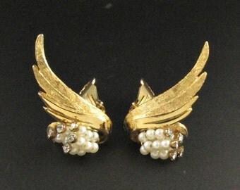 Rhinestone Ear Climber Earrings, Gold Earrings, Rhinestone Earrings, Wing Earrings, Ear Climber Earrings, Pearl Earrings, Statement Earrings