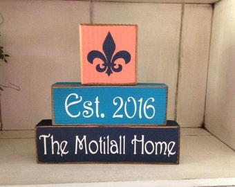 New..Fleur de lis Paris Theme Primitive Sign Block Distressed Wood Sign Personalized Family Name Established Date