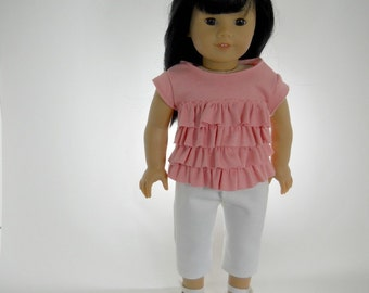 18 inch doll clothes made to fit dolls such as American Girl, Watermelon Ruffle Top and White Denim Capris, 04-1055