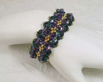 Woven Bracelet Irridescent Purple with Forest Green Pinch Beads Gifts for Her