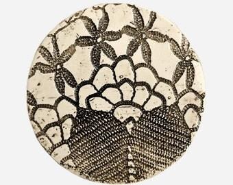 Trivet  with Black & White Vintage Lace Pattern- Textured Ceramic Home Decor