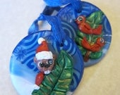 Beaver and Cardinals Woodland Holiday Ornaments Blue and White Christmas Gift Tag Set