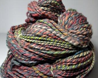 "Handspun Yarn ""Sundry"" Merino Wool Yarn - Hand Dyed Worsted Aran Weight Yarn"
