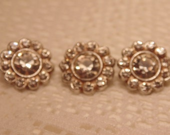 Vintage Rhinestone Buttons-Vintage Buttons-Vintage Accessories-Sewing Supply-Rhinestone Button-ButtonsAntique Button