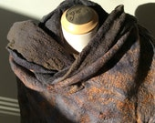 Hand made merino wool and silk sliver wet felted nuno felted shawl, wrap