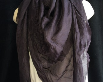 Large hand dyed black silk scarf, wrap or head scarf with nuno felted accent