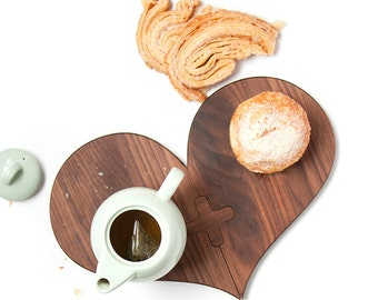 Heart Shaped Kitchen Trivet - Solid Wood Trivet -Wedding Gift - Anniversary Gift - Engagement Gift