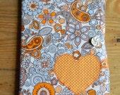 Refillable Journal Cover, orange paisley, heart