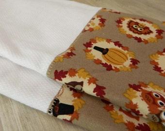 Thanksgiving Dish Towel Set , owl fall decor, autumn hostess gift