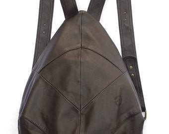 Lovely dark brown backpack drop shape, super safe, RECYCLED LEATHER