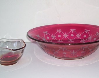 Ruby Red Flash Etched Glass Bowl with Small Dip Bowl,  Holiday Serving Bowl, Elegant Glass, Geometric Glass, Wedding Gift, Retro Art Glass
