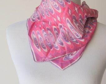 Vintage Mod Pink and Purple Vera Neumann Scarf