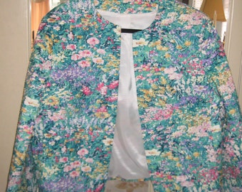 Stunning Floral Print and Pleated Woman's Jacket
