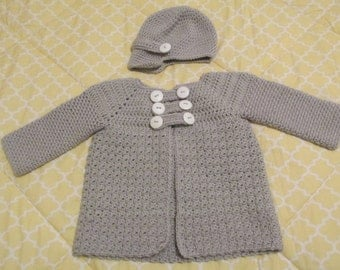 Light Grey Hand-crocheted Cardigan Sweater Jacket and Matching Newsboy Hat in size 12m-24m