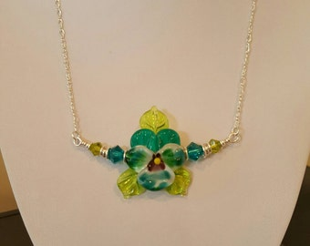 Artisan Lampwork Glass Pansy Necklace