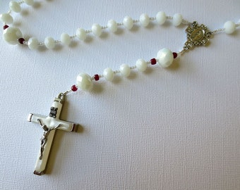 Genuine Ruby-accented White Rosary, July Birthstone Rosary with Miraculous Medal Center and Mother of Pearl Crucifix
