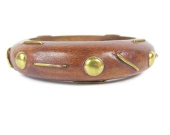 Vintage Wooden Bangle 1970s 1980s Gold Studded Bangle Brass Metal Bangle Modern Boho Hippie Bracelets Chunky Wooden Stacking Bangle