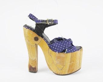 Vintage 1970s Wood Platform Heels 1940's Style Mega Tall High Heels Glam Rock Disco Platforms Pinup Ankle Strap Platform Sandals Size 6 E600