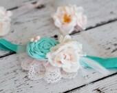 Girls Shabby Chic Retro Aqua Heaband Toddler, Infant, rolled rose Aqua Flower