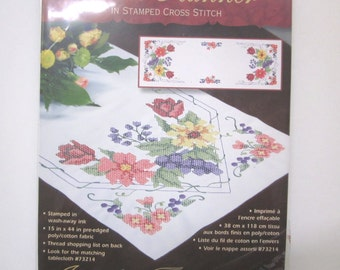 Dimensions, Flowers & Berries Table Runner, Stamped to Embroider with Cross Stitch, 2006