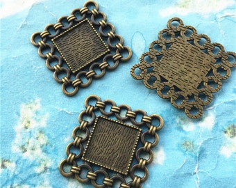 NEW COME 10 pcs 25x25mm antiqued bronze Square cameo/cabochon base setting blanks(12x12mm inner size)