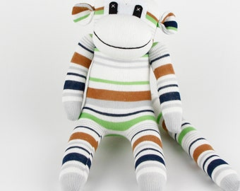 Handmade Green Brown White Striped Sock Monkey Stuffed Animal Doll Baby Gift Toys