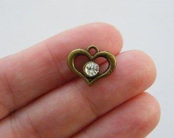 6 Heart charms antique bronze tone BC55