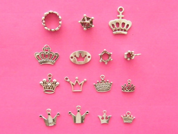 The Ultimate Crown  Charms Collection - 15 different antique  silver tone charms