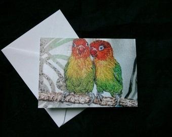 Lovebirds blank greeting card