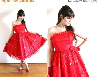 ON SALE 1950s Dress / 50s Dress / 1950s 60s Red Full Circle Skirt Polka Dot Tulle Party Dress