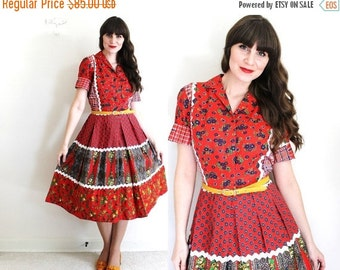 ON SALE 1950s Dress / 50s 60s Dress / 1960s Red Folk Country Patchwork Dress