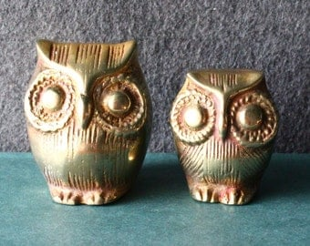 Vintage Brass Owl Figurines - Set of Two