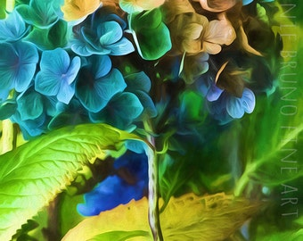 Whimsical Hydrangea fine art giclee print - painted hydrangeas, photo art prints, colorful wall art, blue green yellow taupe interior art