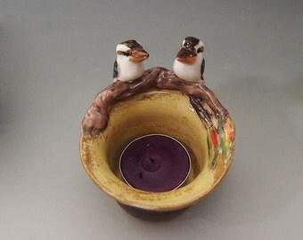 Kookaburra tea light candle holder ceramic bird figurine trinket dish