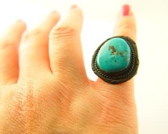 Native American Turquoise Ring - Sterling Silver - Old Pawn - Vintage