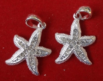 3pcs - Sterling silver plated - starfish pendants - Rhinestone center stones - sea - beach - nautical - Marine - ocean - nature