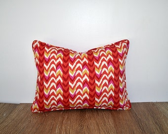 Red and white lumbar pillow cover 16x12, geometric pillowcase girls room decor, striped pillow case, small red chair cushion, striped lumbar