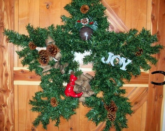 Large Green Star Wreath  Tin JOY Sign   Red Cowboy Boot 34 Inch  Wreath  ID484747615