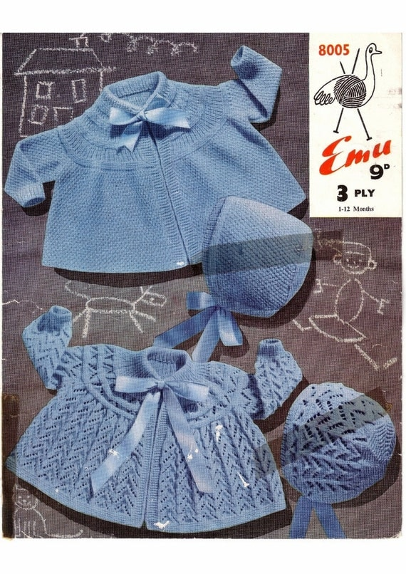 Knitting Pattern Matinee Jackets and bonnets for baby 1 to