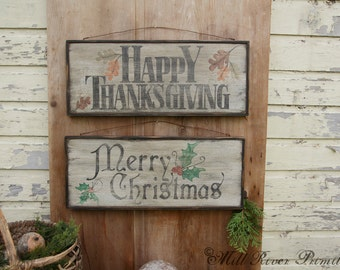 DOUBLE SIDED Thanksgiving/Season's Greetings/Merry Christmas Wooden Sign