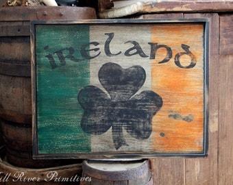 Early looking Ireland Wooden Sign Irish Flag
