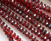 3x5mm Siam Picasso Donuts - Dark Red Rondelle - Fire Polished Rondelle - Garnet Czech Glass Rondelle - Bead Soup Beads