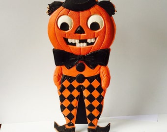 Halloween Decorations German Die Cut,Antique  Pumpkin, Jack o Lantern 1920s Halloween decor