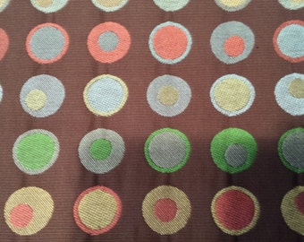 DOTS On CHOCOLATE Brown Red Yellow Blue Green CIRCLE Woven Upholstery Fabric,40-05-24-0415