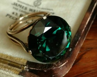 14k rosy gold dark green synthetic stone ring - medieval style statement ring - alternative engagement ring