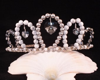 Swarovski Crystal Tiara With Silver Pearl, Crystal Hearts And White Howlite For Bride, Bridesmaid, Prom