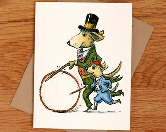 Victorian Dog and Pup, individual Father's Day card.